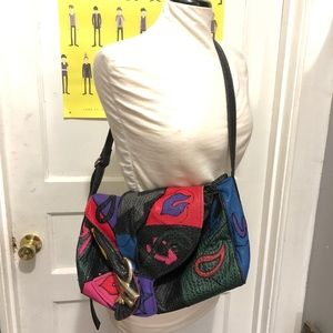 Vintage 80s Leather Colorful Patchwork Purse